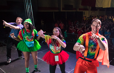 students on stage at Dance Marathon